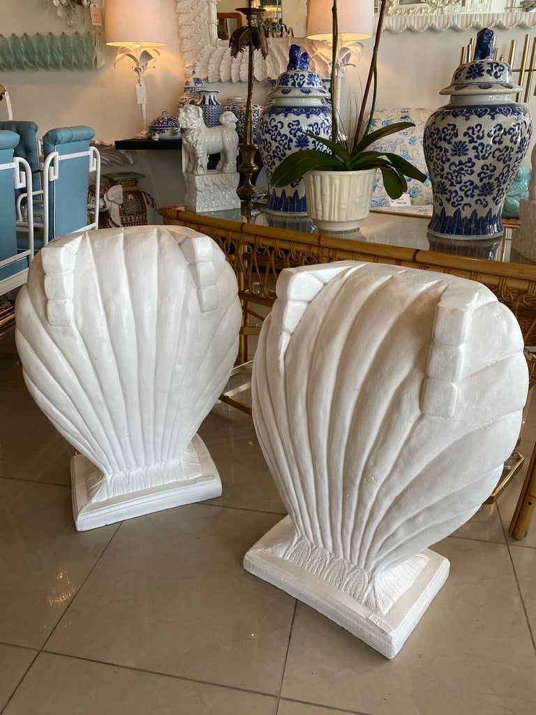 Vintage Pair of Plaster Seashell Scallop Shell Dining Table or Desk Bases For Sale 3