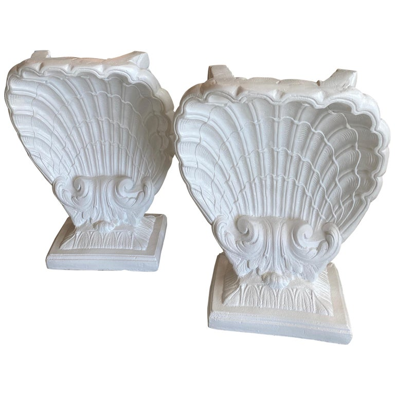 Vintage Pair of Plaster Seashell Scallop Shell Dining Table or Desk Bases For Sale