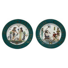 Vintage Pair of Plates with Egyptian Motives, by Fine Royal Porcelain Sculpture