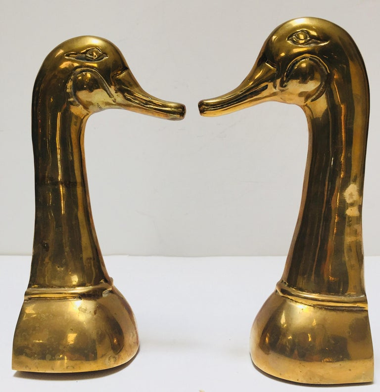 Mid-Century Modern Vintage Pair of Polished Cast Brass Duck Bookends, circa 1950 For Sale