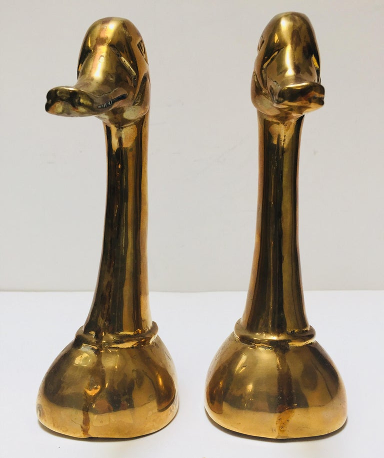 American Vintage Pair of Polished Cast Brass Duck Bookends, circa 1950 For Sale