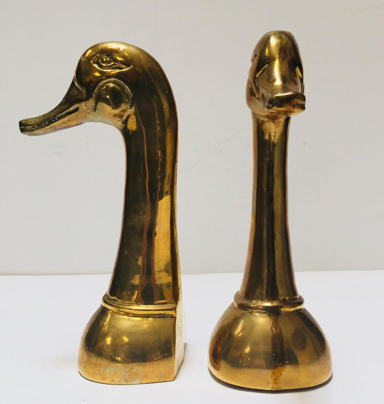 Vintage Pair of Polished Cast Brass Duck Bookends, circa 1950 In Good Condition For Sale In Los Angeles, CA