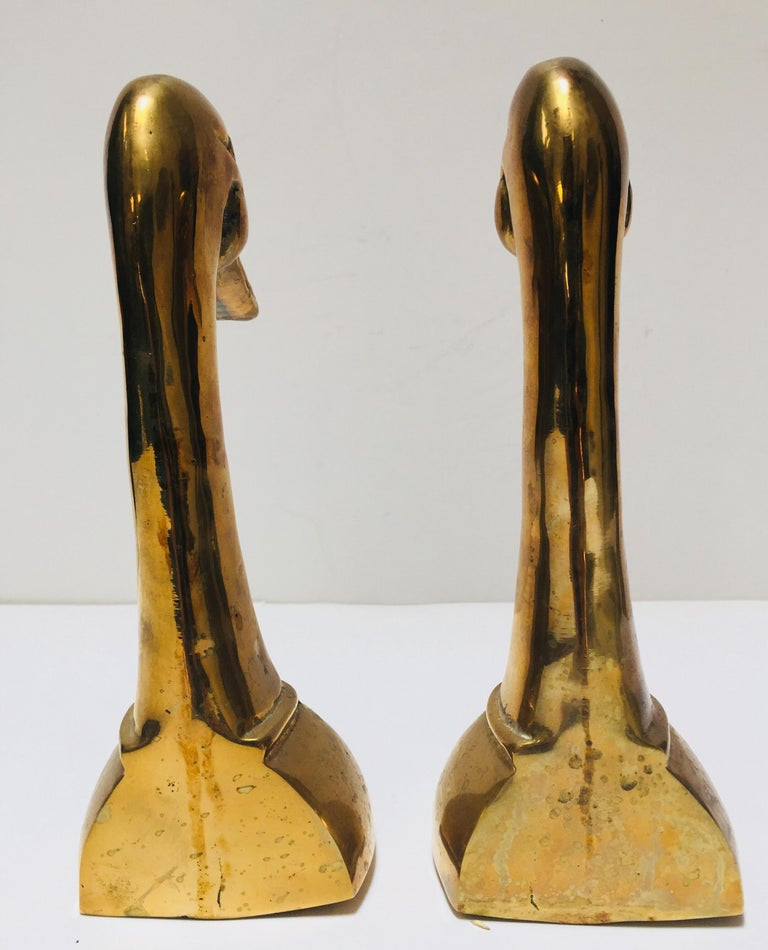 20th Century Vintage Pair of Polished Cast Brass Duck Bookends, circa 1950 For Sale