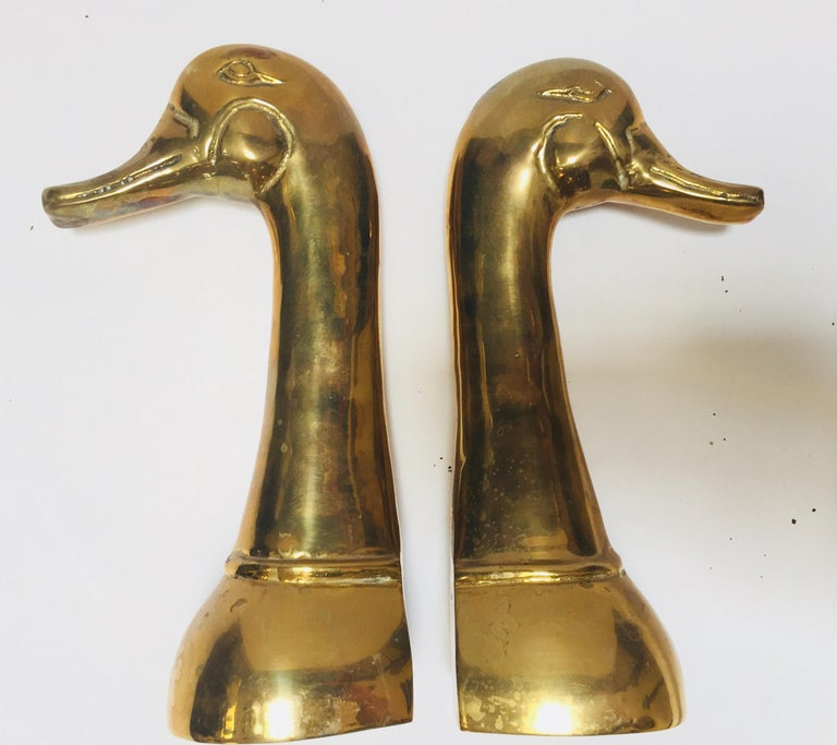 Vintage Pair of Polished Cast Brass Duck Bookends, circa 1950 For Sale 1