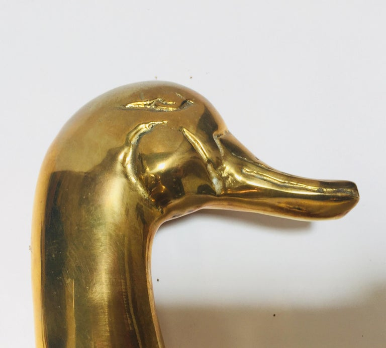 Vintage Pair of Polished Cast Brass Duck Bookends, circa 1950 For Sale 2