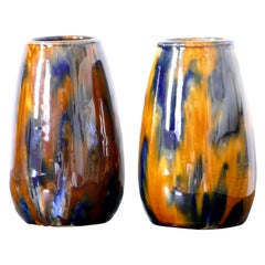 Vintage Pair of Polychrome Vases by G.H. Richard London Matlock, Late 1900