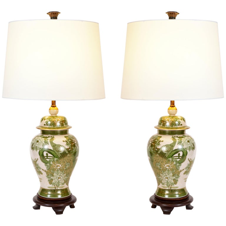 Vintage Pair Of Porcelain Task Table Lamps With Wood Base For