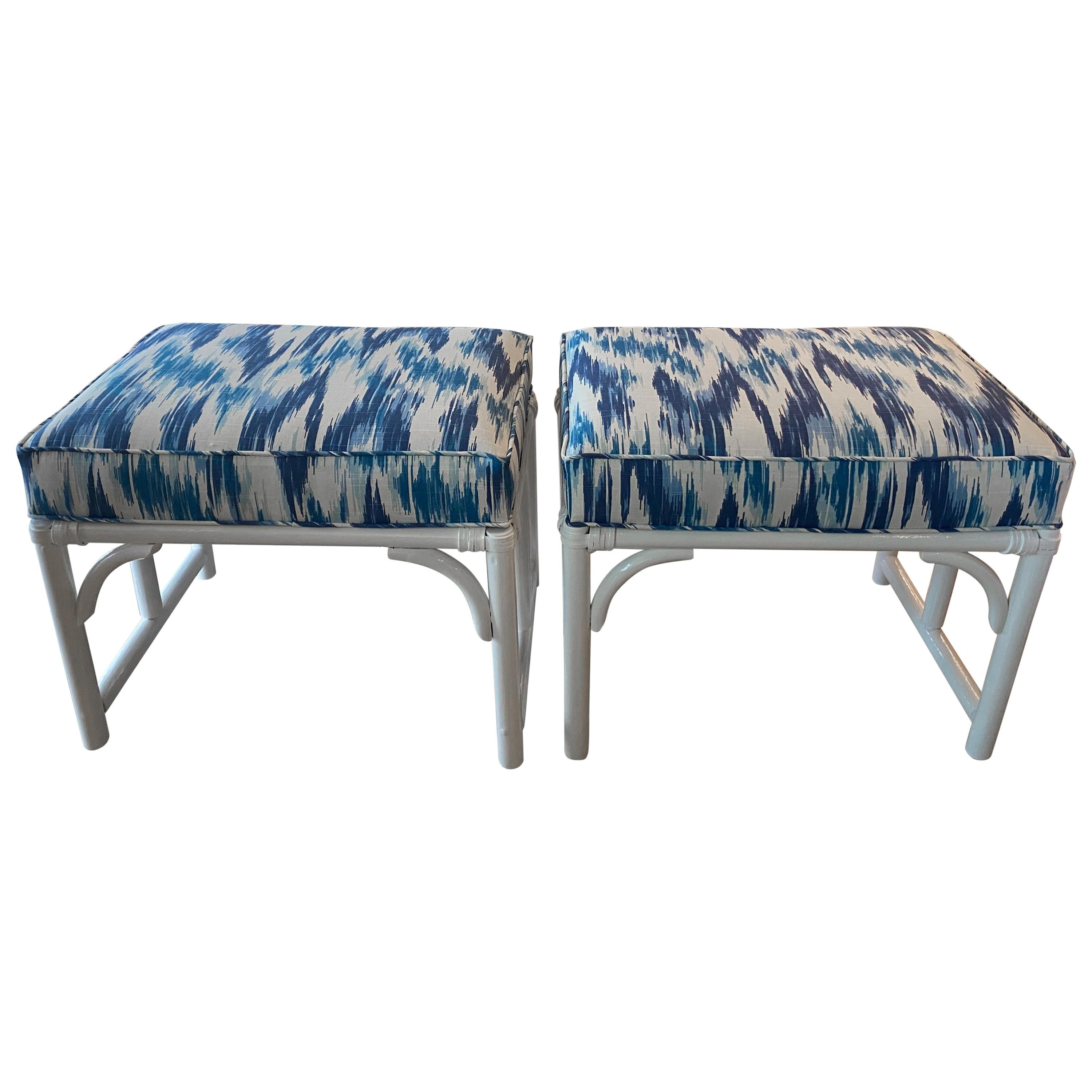 Vintage Pair of Rattan Bamboo White Lacquered Upholstered Blue Benches Stools
