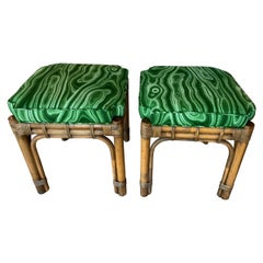 Vintage Pair of Rattan Malachite Newly Upholstered Benches Stools