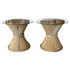 Vintage Pair of Rattan Side End Drink Table Glass Tops