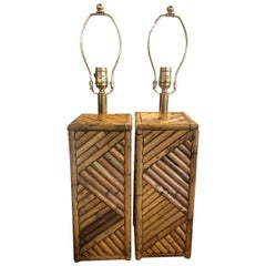 Vintage Pair of Rattan Table Lamps Tropical Brass Hardware Rewired Restored