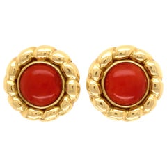 Vintage Pair of Red Coral Gold Button French Clip Earrings Estate Fine Jewelry