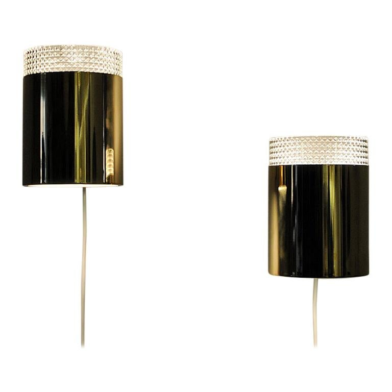 Vintage Pair of Relieffglass and Brass Falkenberg Wall Lamps, Sweden 1960s