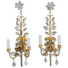 Vintage Pair of Rock Crystal Gilt Sconces