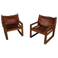 Vintage Pair of Safari Chairs Designed by Svend Frandsen, Denmark, 1970s