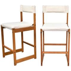 Vintage Pair of Scandinavian Modern Sling Counter Height Bar Stools White