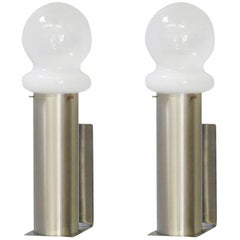 Vintage Pair of Sconces w/ Opaline Murano Glass Designed by Leucos, 1960s