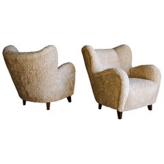 Vintage Pair of Sheepskin Lounge Chairs from Finland, circa 1950
