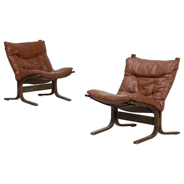 Vintage Pair of Siesta Armchairs by Ingmar Relling for Westnova 'Norway', 1970s For Sale