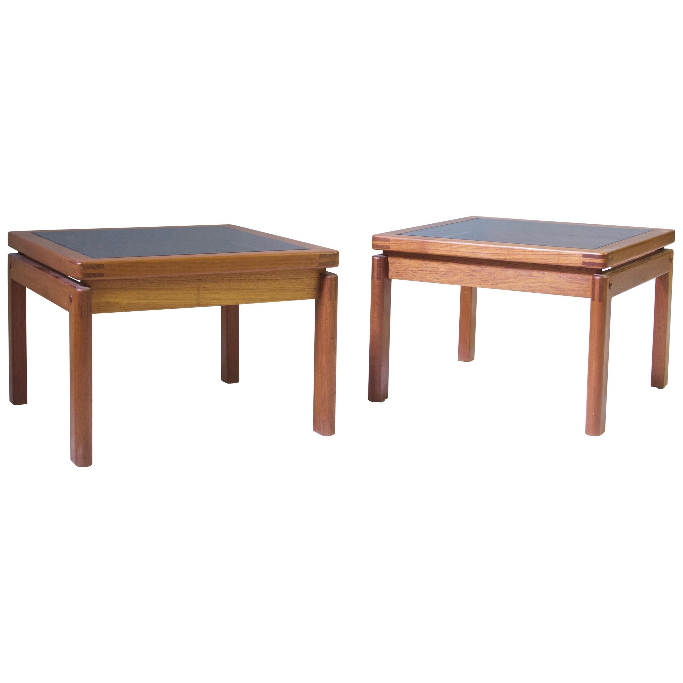 Vintage Pair of Signed Danish Side Tables with Exposed Joinery in Teak, 1960s