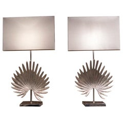 Vintage Pair of Silver Metal Lamps with Leaf Motif, 1980