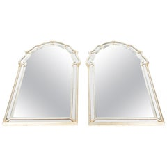 Vintage Pair of Silvered / Gold Wood Framed Hanging Wall Mirror