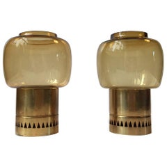 Vintage Pair of Smoke Glass & Brass Candleholders by Hans-Agne Jakobsson, 1960s