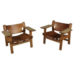 Vintage Pair of Spanish Chairs Designed by Børge Mogensen, Denmark, circa 1970