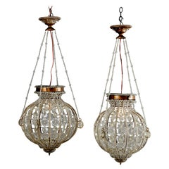 Vintage Pair of Spherical Brass and Cut Crystal Chandeliers, 20th Century