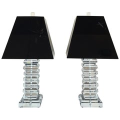 Vintage Pair of Stacked Lucite Table Lamps
