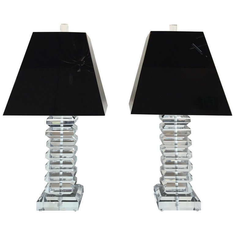 Vintage Pair of Stacked Lucite Table Lamps For Sale