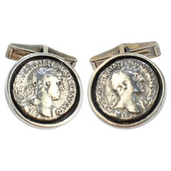 Vintage Pair of Sterling Silver Cufflinks with Ancient Roman Coins