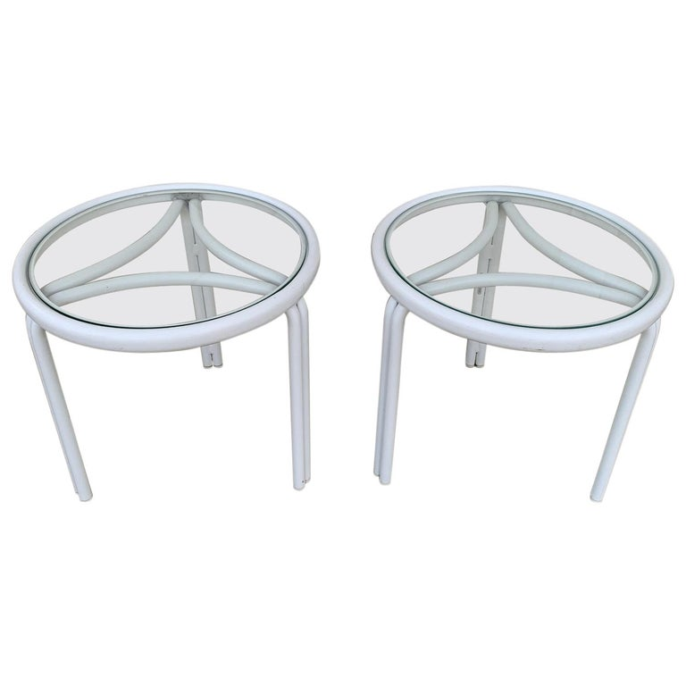 Vintage Pair of Tamiami Side Tables in White Metal and Glass Tops For Sale