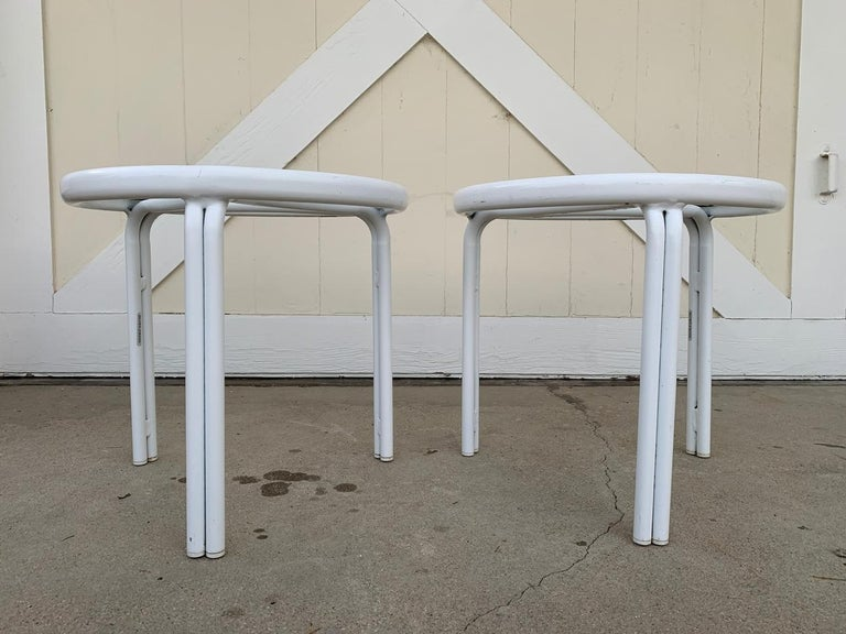 Tamiami made its iconic debut in 1961 and immediately struck a chord with midcentury designers and the public alike. Featuring a streamlined aluminum frame, the Tamiami collection is an iconic midcentury design.  The tables are in very good