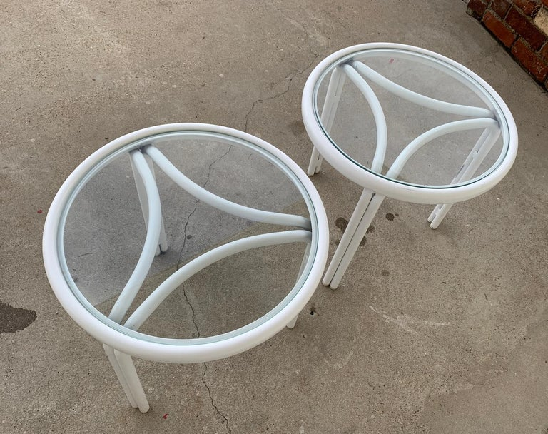 Mid-20th Century Vintage Pair of Tamiami Side Tables in White Metal and Glass Tops For Sale