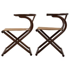 Vintage Pair of Thonet-Style Mid-Century Modern Bentwood Folding Chairs c. 1960s