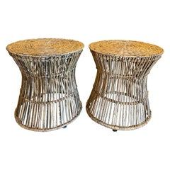 Vintage Pair of Tropical Palm Beach Rattan and Seagrass Stools Benches Ottomans