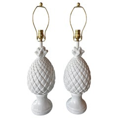Vintage Pair of Tropical White Plaster Pineapple Table Lamps New Wired Brass