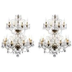 Vintage Pair of Venetian Twelve-Light Crystal Chandeliers, 20th Century