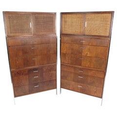 Vintage Pair of Walnut Highboy Dressers