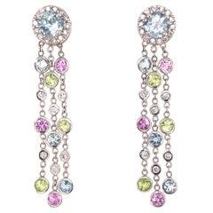 Vintage Pair of White Gold Diamond Aquamarine Gem Set Dangle Earrings