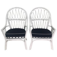 Vintage Pair of White Lacquered Rattan With Blue and White Sunbrella Cushion