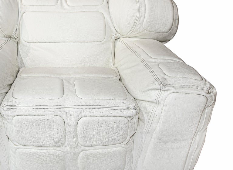 Israeli Pair of White Leather Armchairs, by Arik Ben Simhon, 2002 For Sale