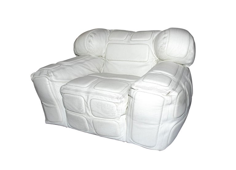 Pair of White Leather Armchairs, by Arik Ben Simhon, 2002 In Good Condition For Sale In Roma, IT
