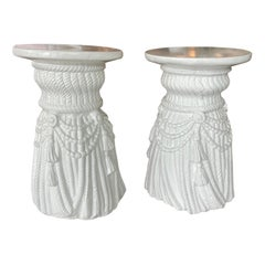 Vintage Pair of White Plaster Lacquered Draped Tassel Garden Stools Stands