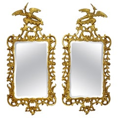 Vintage Pair of Williamsburg Phoenix Chippendale Gilded Art Mirrors