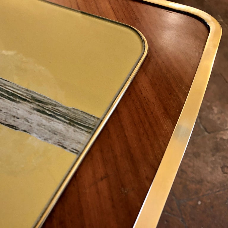 Vintage Pair of Wood, Brass and Black & Gold Striped Murano Glass Coffee Tables For Sale 11