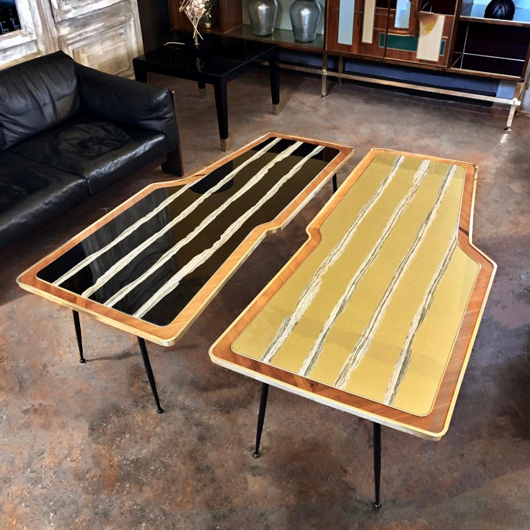 Vintage Pair of Wood, Brass and Black & Gold Striped Murano Glass Coffee Tables For Sale 14