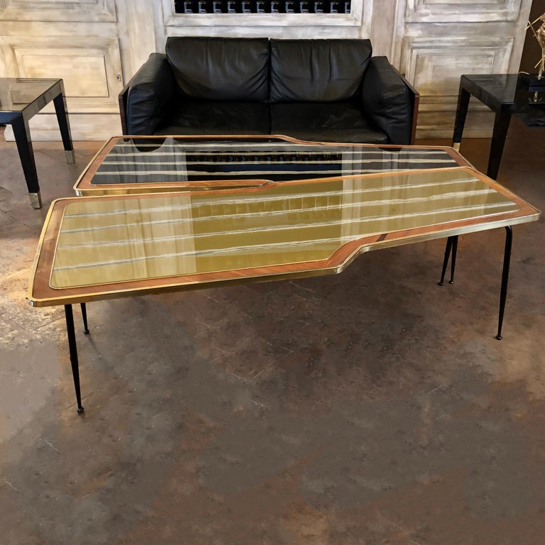 Mid-Century Modern Vintage Pair of Wood, Brass and Black & Gold Striped Murano Glass Coffee Tables For Sale