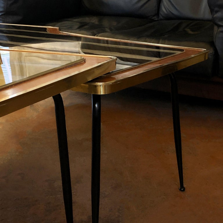 Italian Vintage Pair of Wood, Brass and Black & Gold Striped Murano Glass Coffee Tables For Sale
